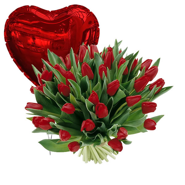 25 Hollandse tulpen + Hart ballon