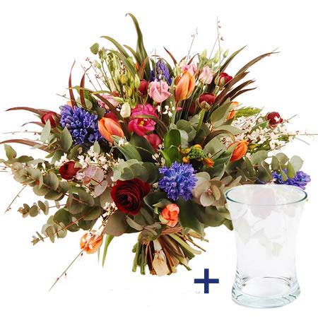 Boeket fleurig + Vaas