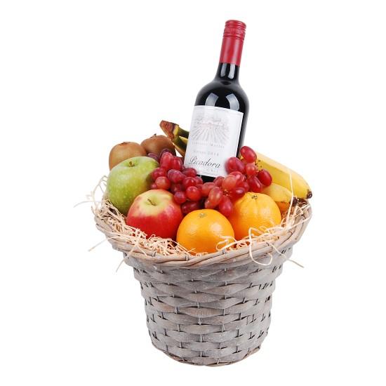 Fruitmand hoog met Rode wijn bestellen