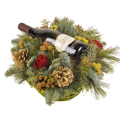 Kerststuk met rode wijn