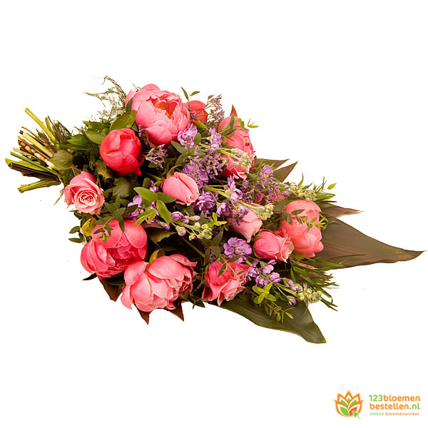 Pioen passionis rouwboeket
