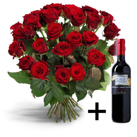 20 Rode Rozen + Gratis wijn