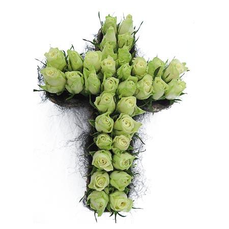 Wit rozen kruis