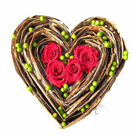 Gevuld hart rood