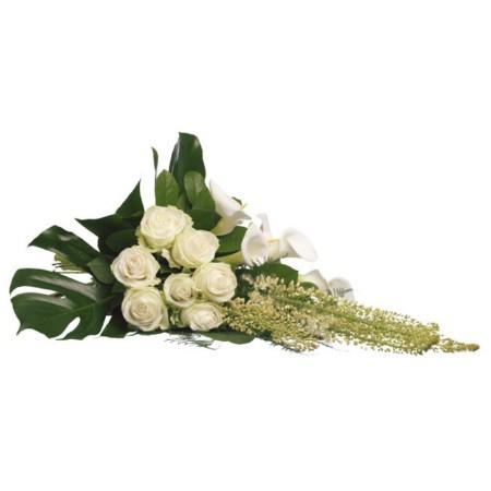 Wit rouwboeket lang