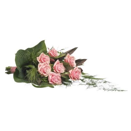 Rouwboeket roze rozen