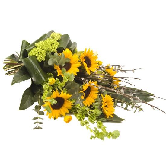 Rouwboeket zonnebloemen
