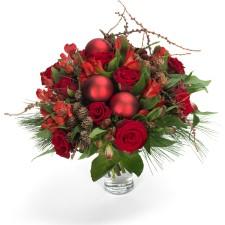 Rood luxe kerstboeket