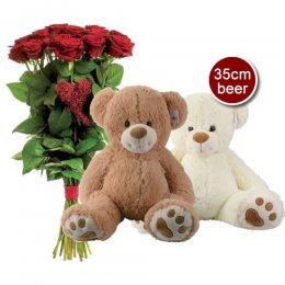 Valentijn beer + 15 rode rozen