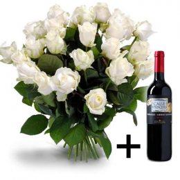 25 Witte Rozen + Gratis wijn