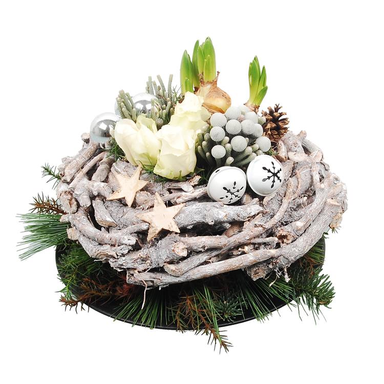 Houten kerstkrans wit