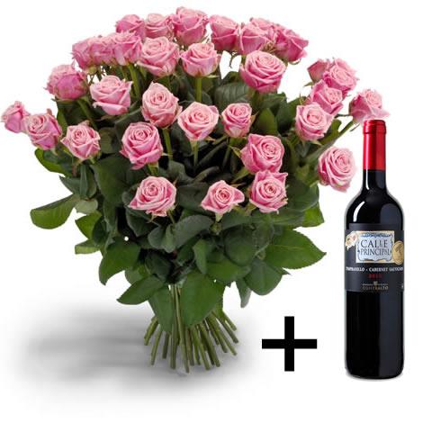 25 roze Rozen + Gratis wijn