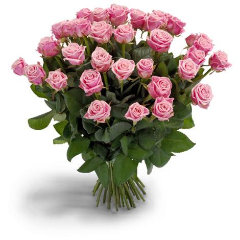Zacht roze rozen boeket